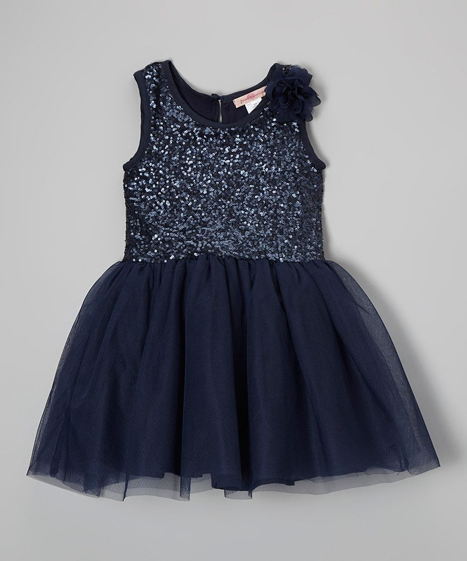 59b3008d4069 Love this Paulinie Navy Rosette Sequin Overlay Dress - Toddler ...