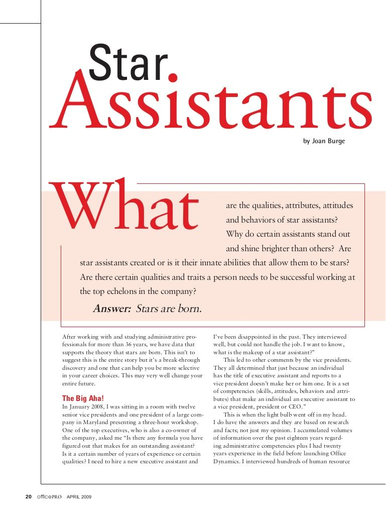 The DNA of a Star Assistant, What it really takes to shine in this - office assistant job description