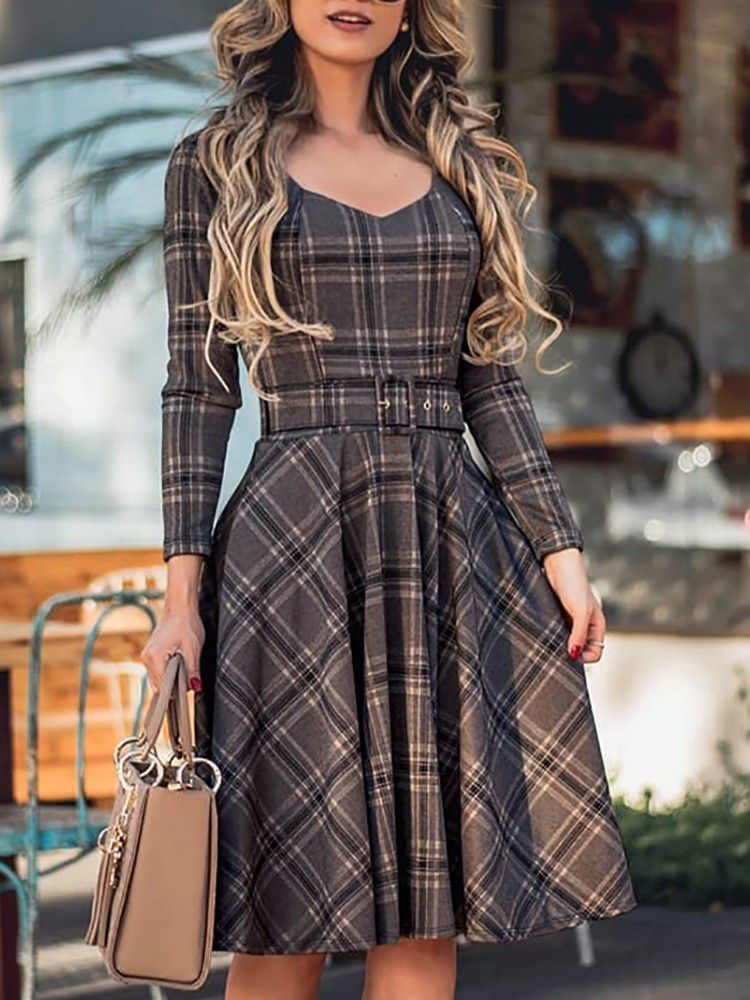 85acc769ae Plaid Print Long Sleeve Belted Pleated Dress new dress styles ...