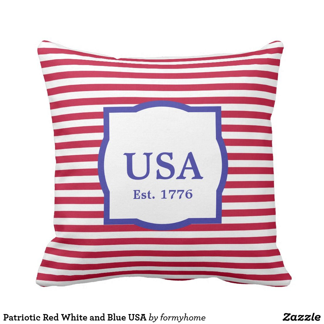 Patriotic Red White And Blue Usa Outdoor Pillow Patriotic 4th Of