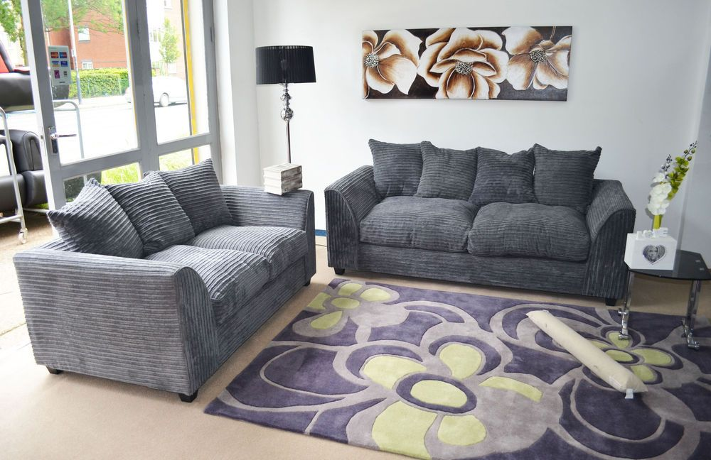 New Dylan Fabric Jumbo Cord Grey Sofa In Corners And 3 2 1 Swivel Chair Seaters Gray Sofa Sofa Living Room Sofa Set
