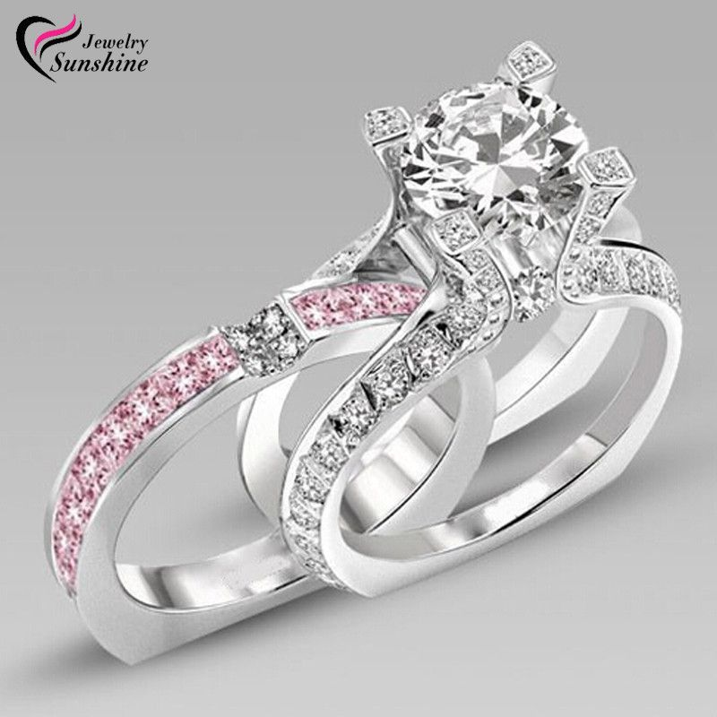 Ring Antique Silver Cubic Zirconia White Gold Filled Wedding Couple