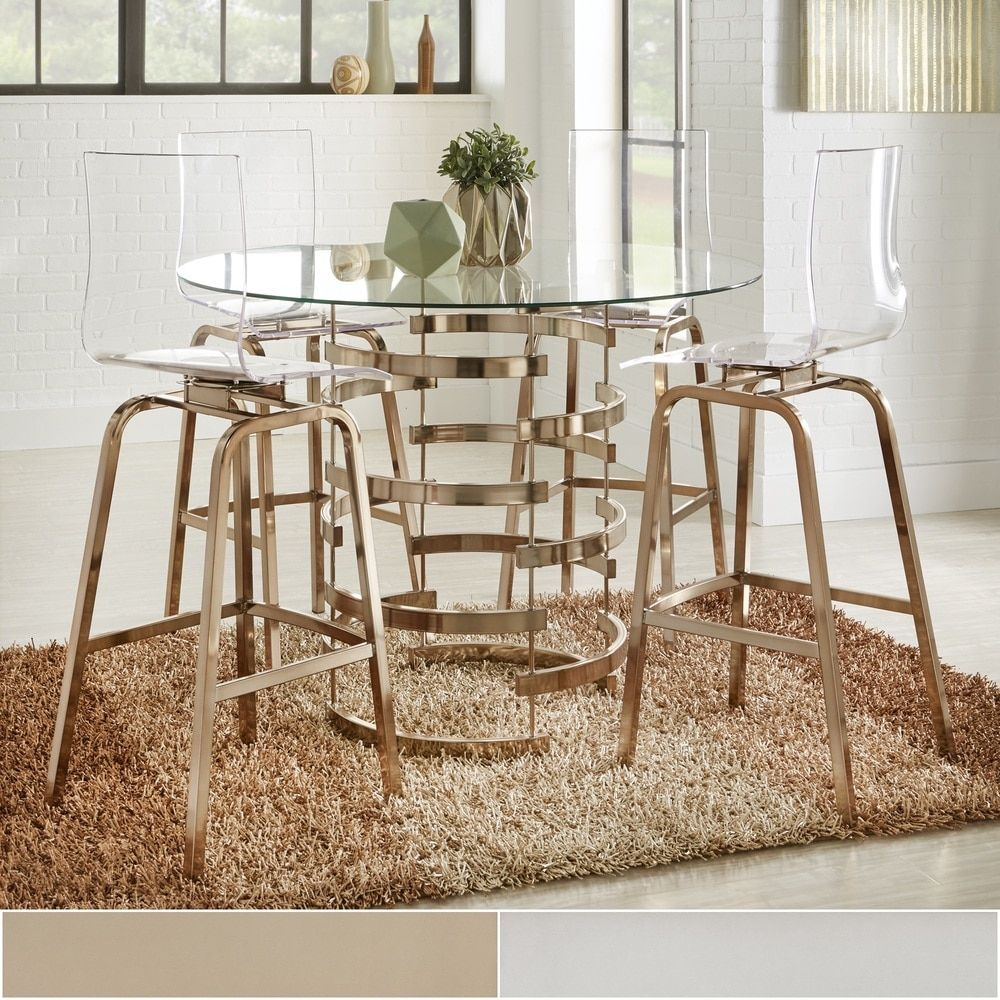 Nova Round Glass Top Vortex Iron Base Counter Height Table by INSPIRE Q -  Free Shipping