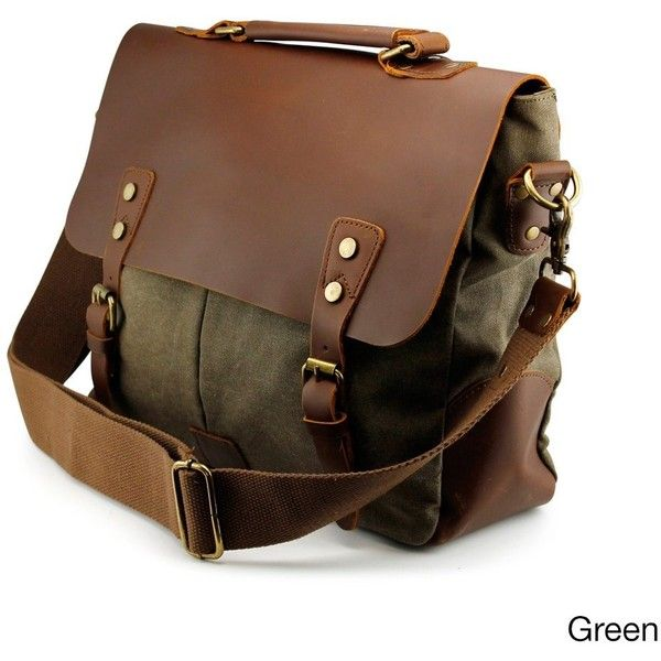 Gearonic Men's Vintage Satchel School Military Messenger Shoulder Bag ($60) ❤ liked on Polyvore featuring men's fashion, men's bags, men's messenger bags, green, mens satchel messenger bag, mens leather laptop messenger bag, mens vintage leather messenger bag, mens satchel and mens messenger bags