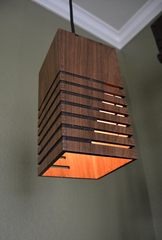 Wooden Pendant Light Linear Cutouts Luminaire Bois Idees Pour La Maison Mobilier De Salon
