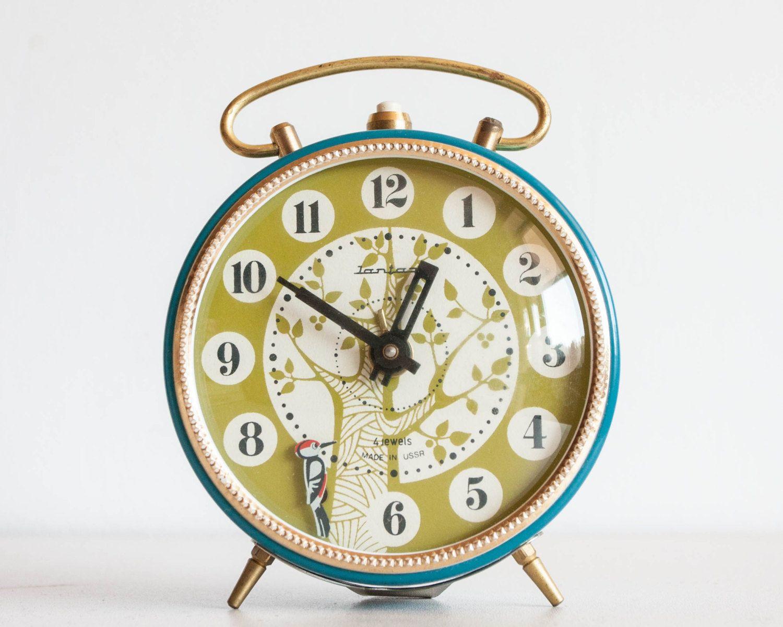 Rare alarm clock woodpecker and tree desk clock russian alarm rare alarm clock woodpecker and tree desk clock russian alarm clock kids room clock nursery decor amipublicfo Images