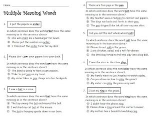 free multiple meaning words worksheet | Grammar/Language | Multiple ...