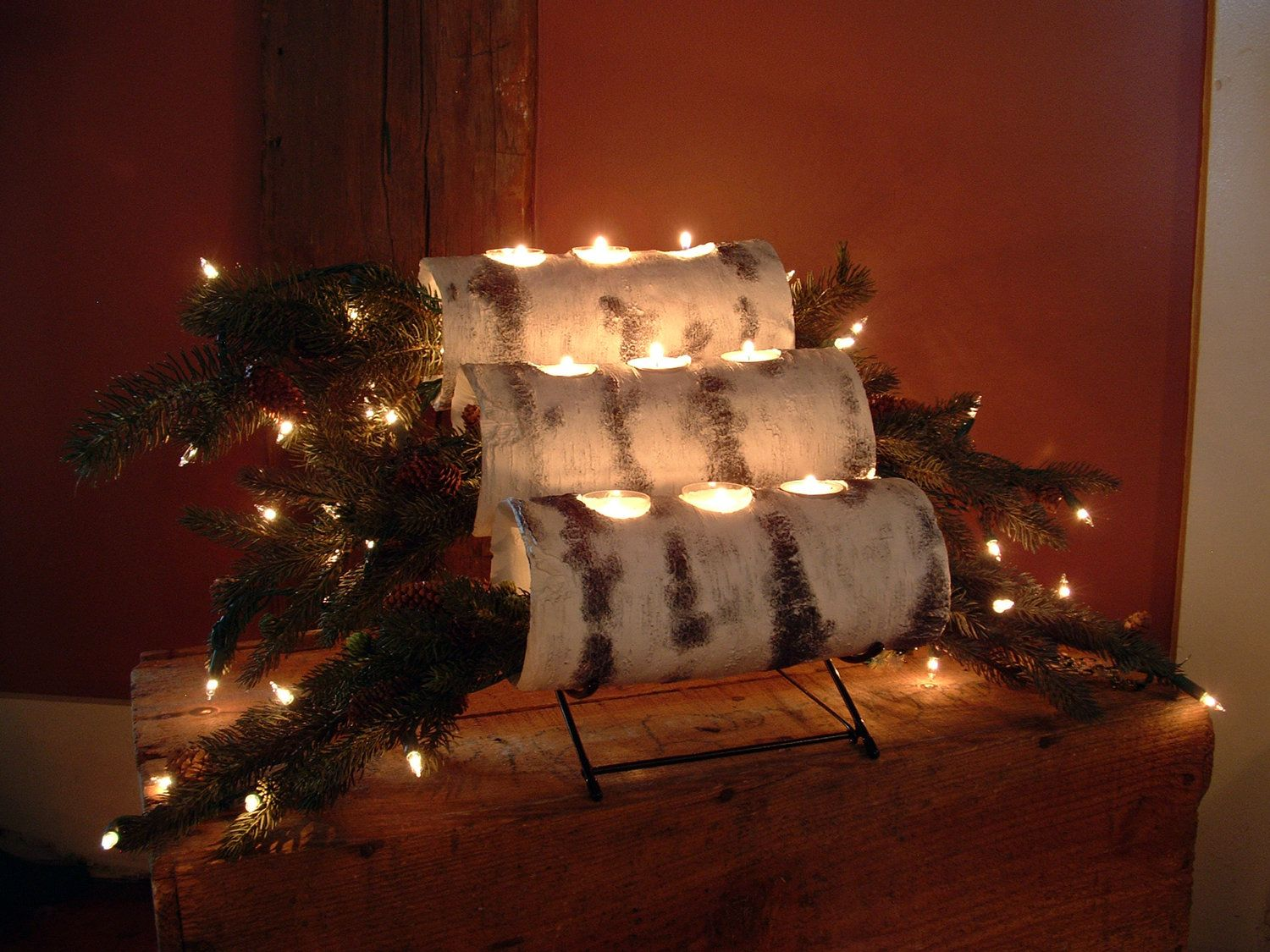 How to make a christmas yule log decoration - Three Tier Birch Yule Log Cradle With Birch Logs And Prelit Evergreen Boughs Yule Logchristmas Diyholiday