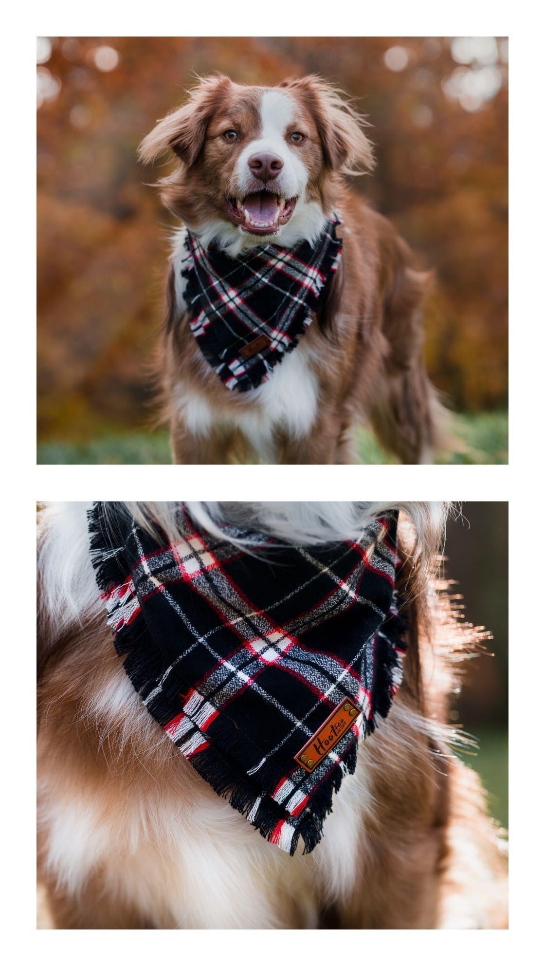 Hoot And Co Pet Bandana Dog Bandana Plaid Bandana Frayed Dog Bandana Pet Lover Gift Scarf Bandana Set Match Dog Store Dog Supplies Online Dog Supplies