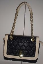 Betsy Johnson Black Cream Quilted Heart shoulder bag Gold Chain EUC