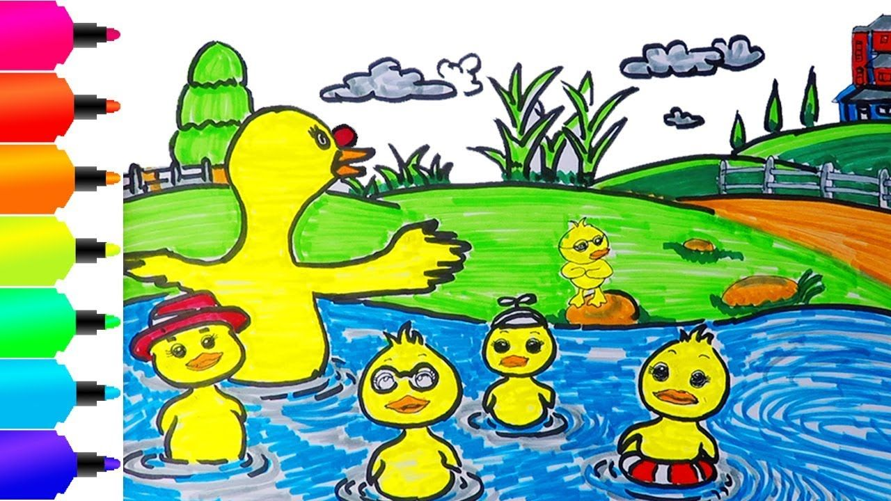 Cara Menggambar Dan Mewarnai Mother With Baby Duck Learn Colors For Kids Learn Colors For Kids Learning Colors Colors For Kids
