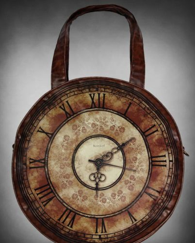 Restyle Brown Steampunk Clock Face Faux Leather Large A4 Round Hand Bag 36cm | eBay