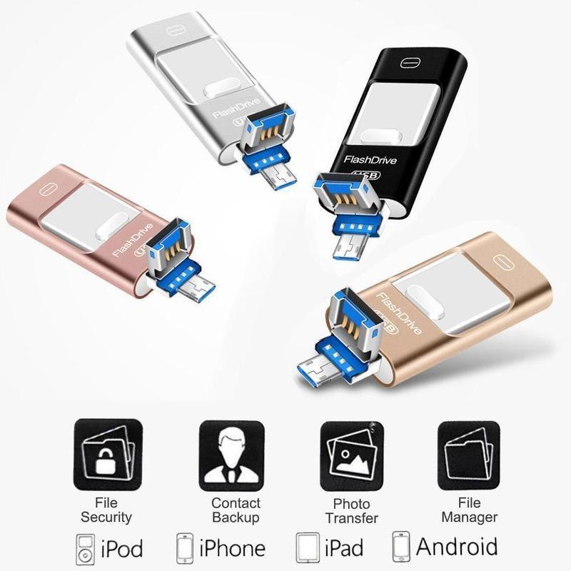 Portable Usb Flash Drive For Iphone Ipad Android In 2020 Usb Flash Drive Usb Flash Drive