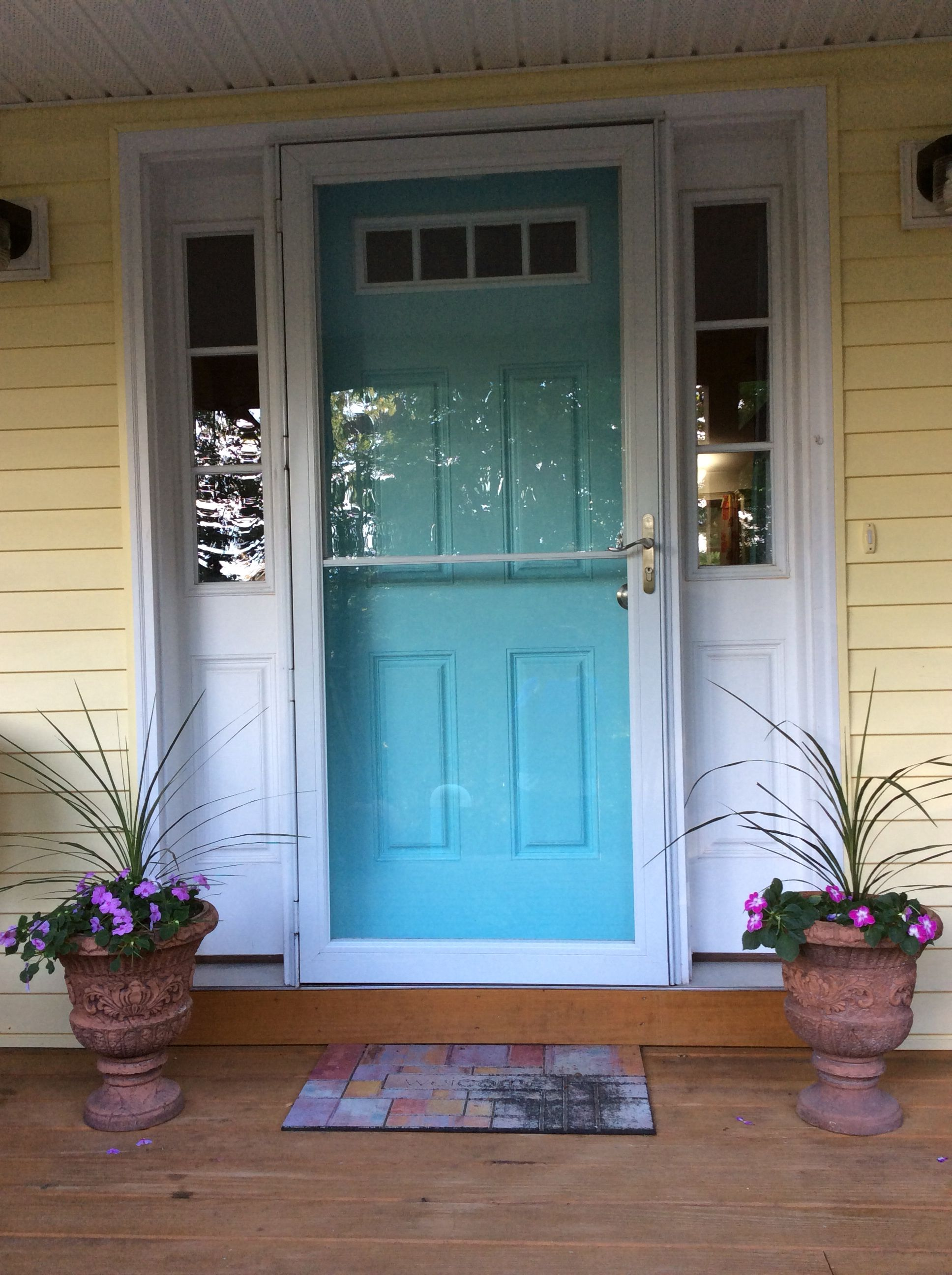 Just Finished Love The Color Aqua Front Doors Garage Door Colors Front Door Colors