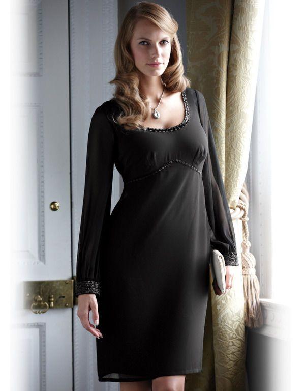 PEPPERBERRY by Bravissimo Empire Beaded Chiffon Dress Size UK 18 SC US 14  BLACK 6e1d680cb5b