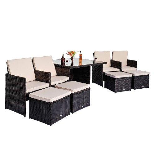 Outsunny Rattan Wicker Furniture 9 Pcs Outdoor Garden Lounger