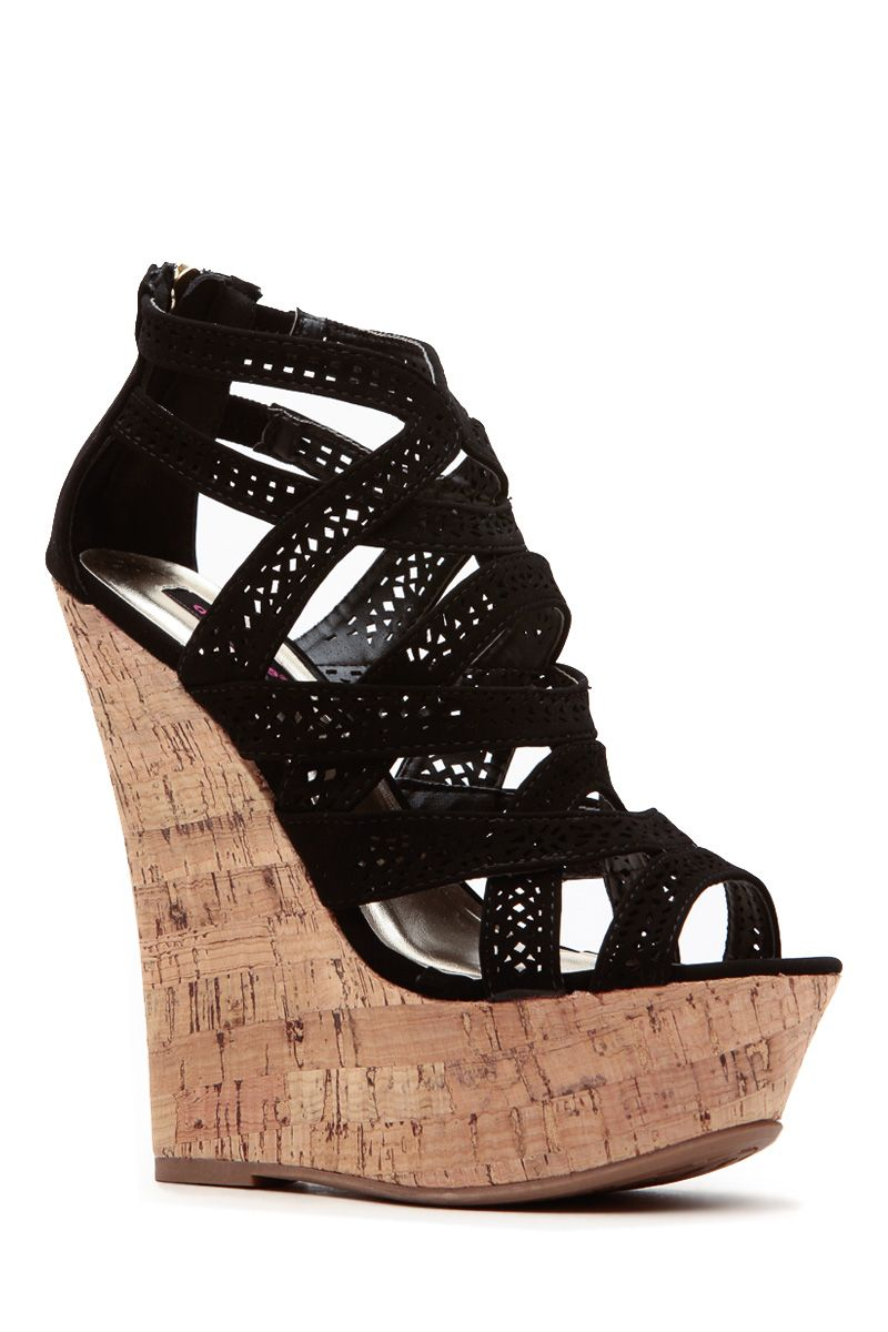 8e60e95825927 Black Laser Cut Curves Ahead Cork Wedges Summer Wedges Shoes