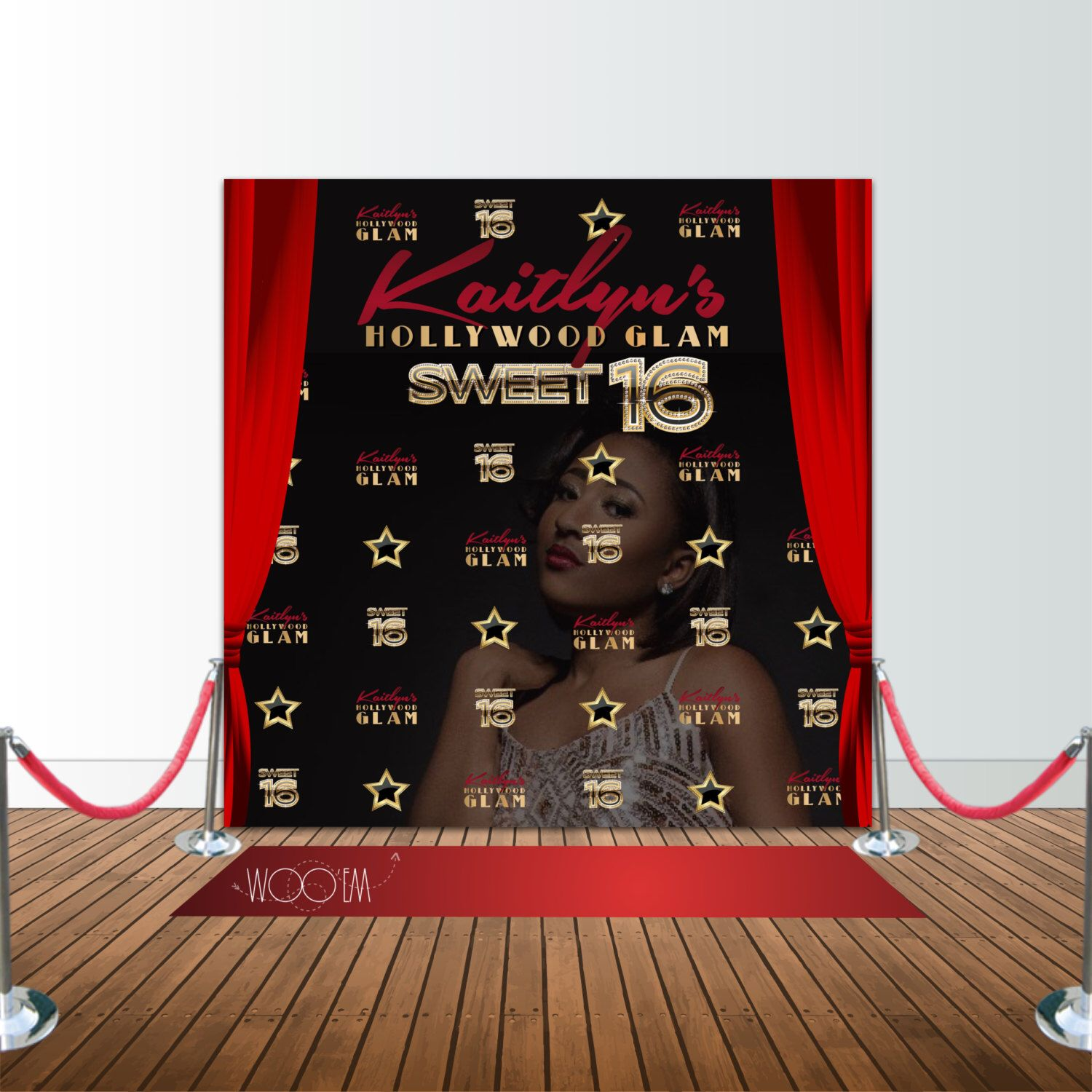 Hollywood Glam Sweet 16 Birthday 8x8 Backdrop Step & Repeat