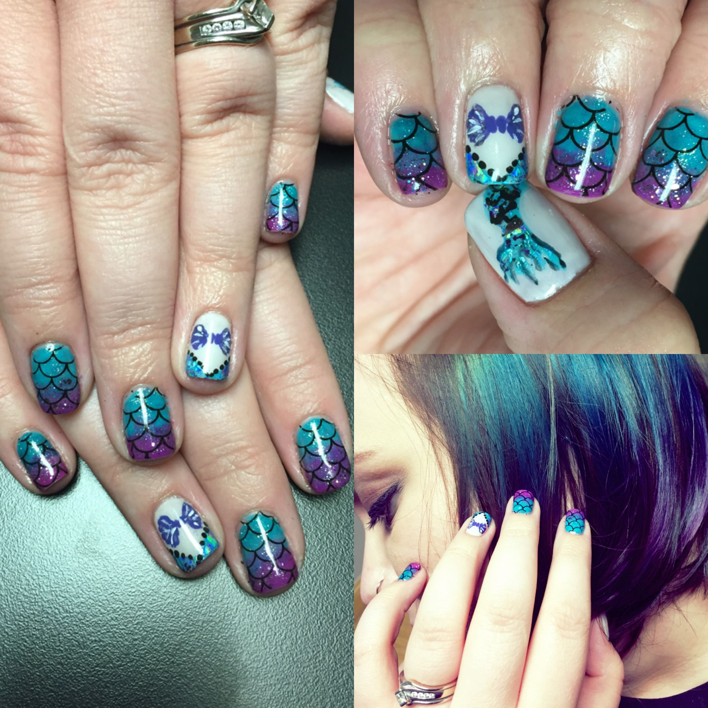 Little Mermaid Inspired Nails Ariel Inspired Nails Gelish Rub Me
