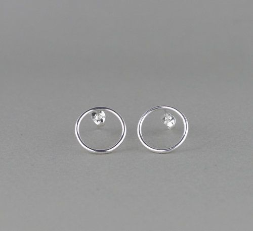 Sterling Silver Circle Stud Earrings Minimalist Jewellery Simple Jewelry Gifts That Give Back Handmade