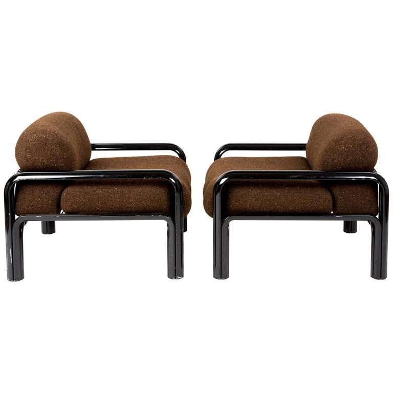 Photo of Set of Knoll Lounge Chairs by Gae Aulenti for Poltrona, with the Original Fabric