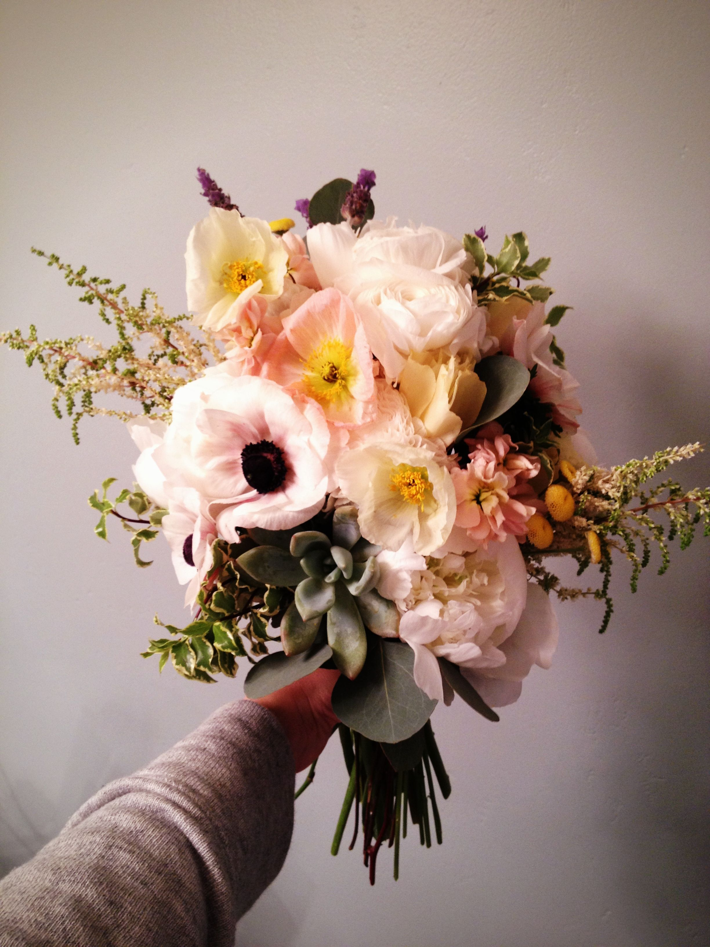 Rustic and wild wedding bouquet with peonies anemone ranunculus rustic and wild wedding bouquet with peonies anemone ranunculus succulents and poppies by lizys lilies izmirmasajfo