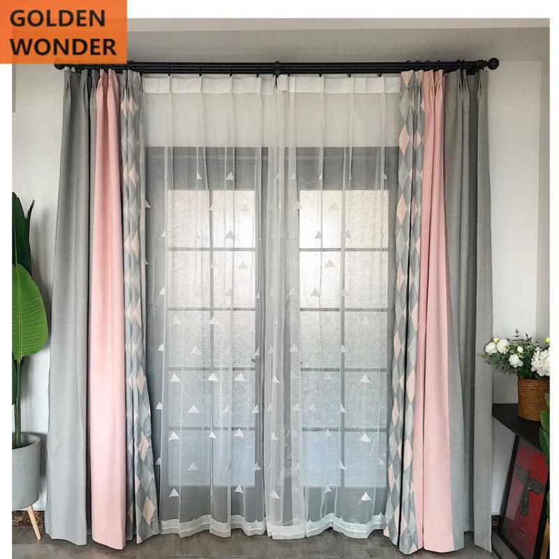 Fashion Fresh Simple Pink Gray Stitching Curtain For Living Room Bedroom Finished Chines In 2020 Bedroom Decor Grey Pink Curtains Living Room Grey Curtains Living Room #pink #curtains #for #living #room