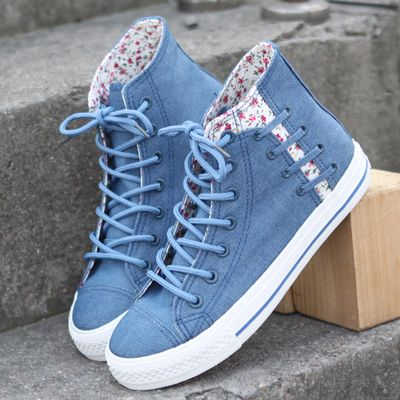 Floral denim canvas lace shoes is part of Kawaii shoes - Floral denim canvas lace shoes sold by Cute Kawaii {harajuku fashion  Shop more products from Cute Kawaii {harajuku fashion on Storenvy, the home of independent small businesses all over the world