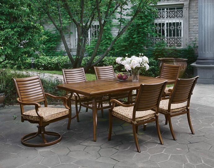 7 Pc Desiree Collection Brown Faux Wood Look Metal Frame Patio Table And Chairs Measures 72 X 38 29 1 2 H Arm Measure 24 28 36