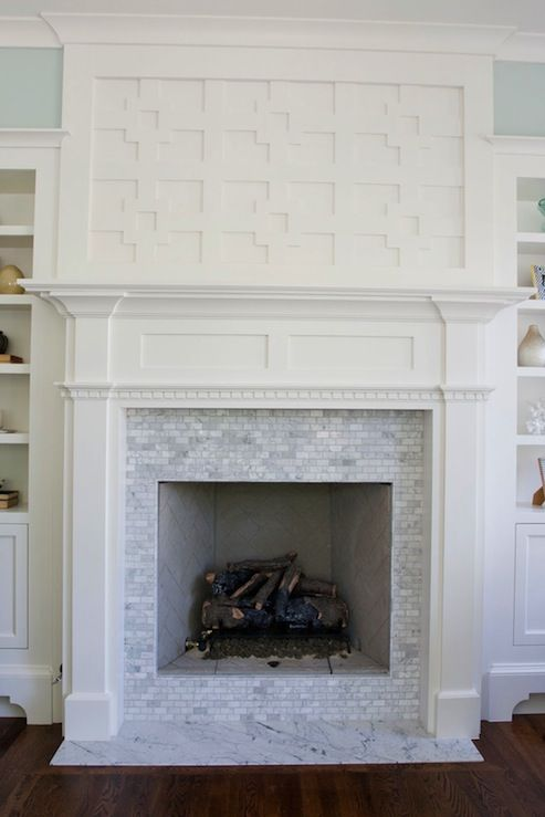 Gorgeous Greek key fretwork fireplace with white carrara marble tiles, blue  walls paint color and - Gorgeous Greek Key Fretwork Fireplace With White Carrara Marble