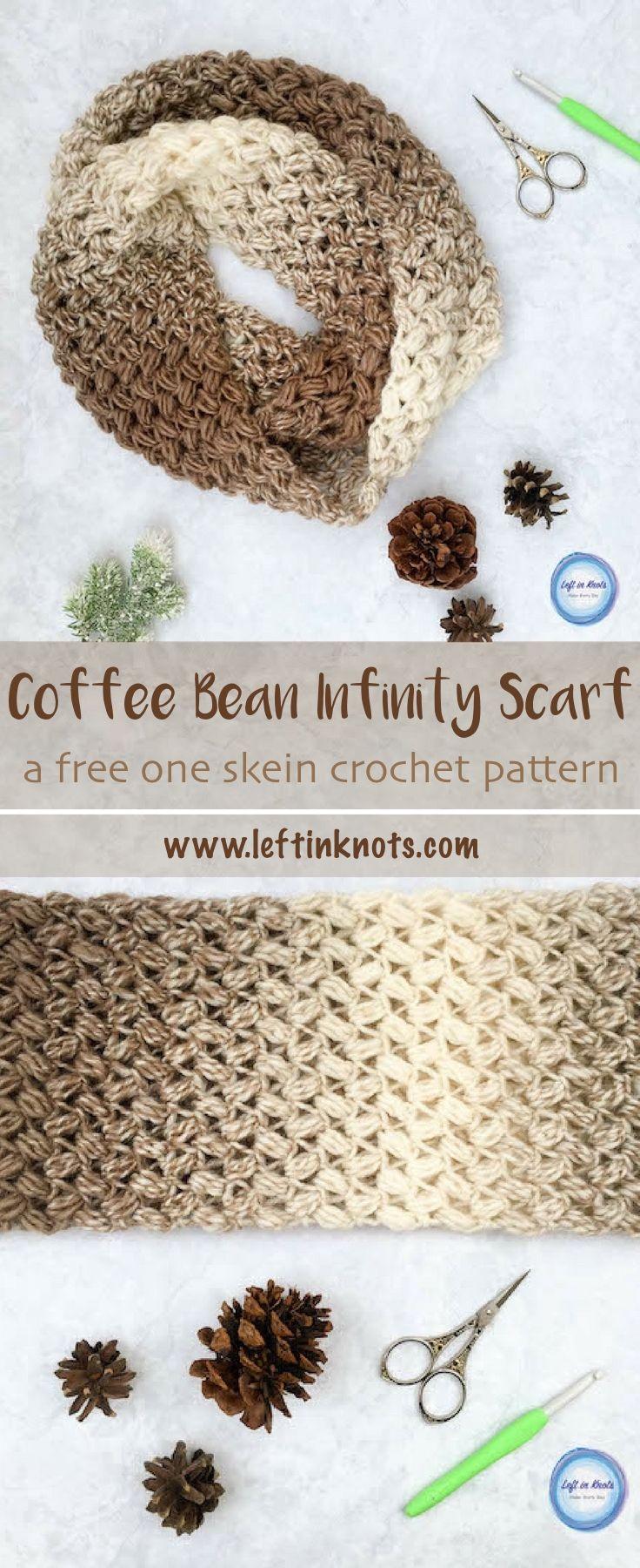 Coffee Bean Infinity Scarf Crochet Pattern | Tejido, Ganchillo y ...