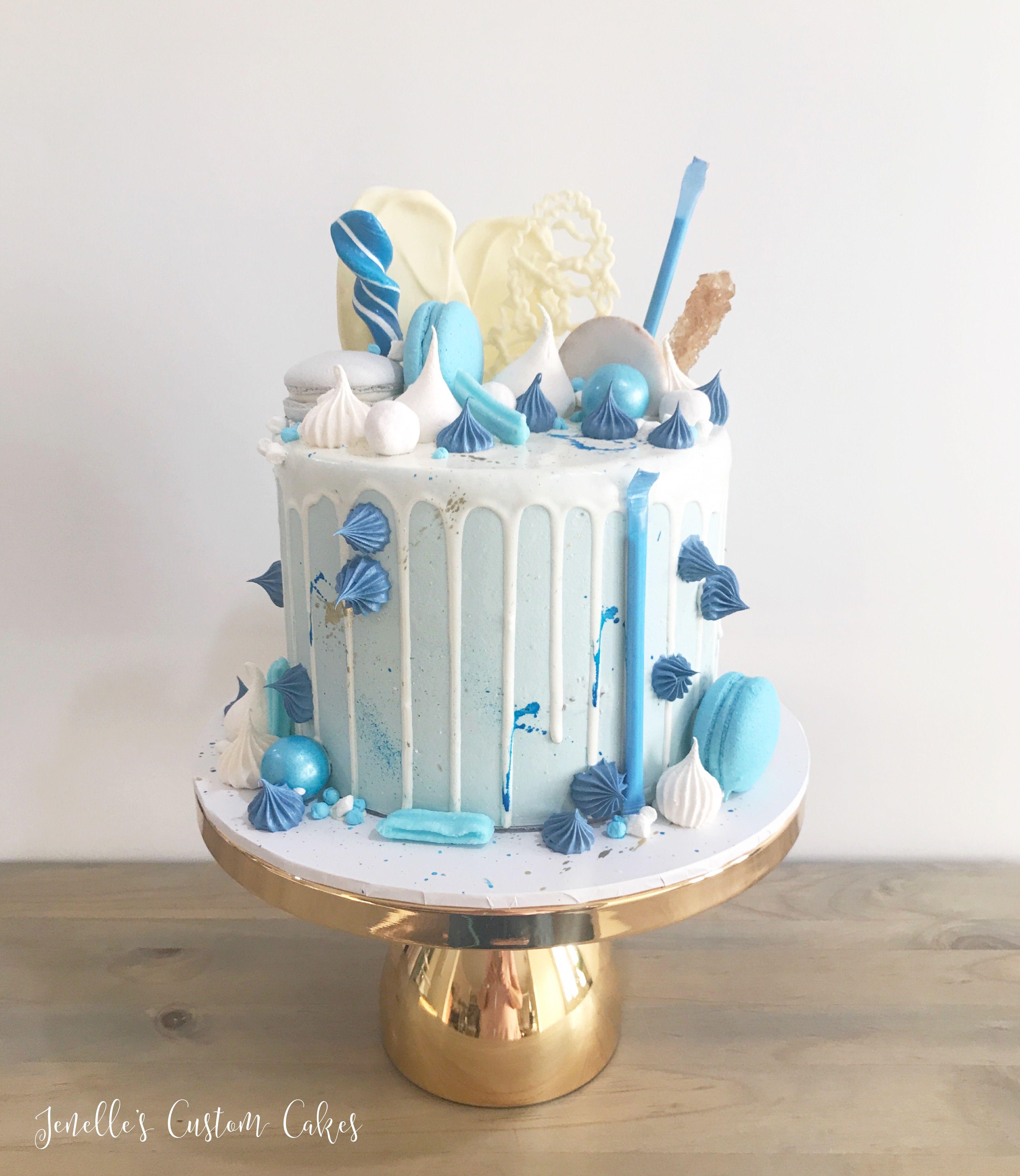 Blue Drip Cake By Jenelle S Custom Cakes Blue Drip Cake