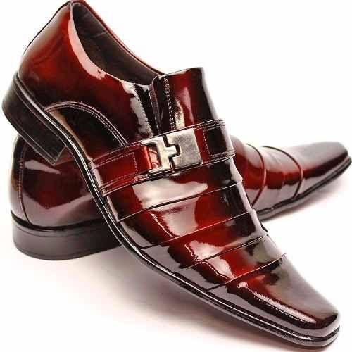 2458e6fe1c146 Sapato Social Masculino Casual Couro Verniz Alto Brilho - R$ 169,99 ...