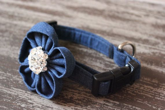 """""""DENIM"""" Dog Collar and Collar Flower. Created and designed by BARKS A LOT BOWTIQUE."""