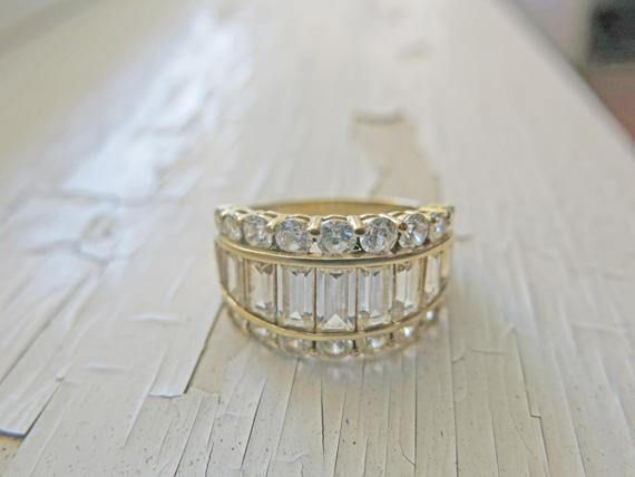 14K Yellow Gold Ring Statement CZ Engagement Ring emerald cut