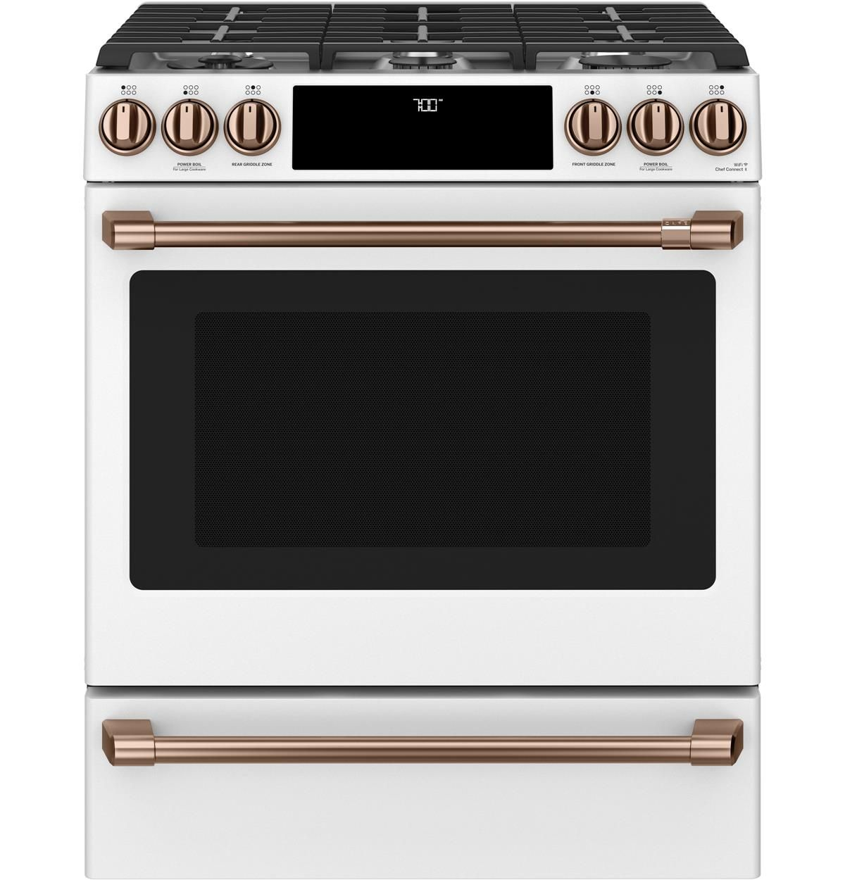 Cgs700p4mw2 Overview Cafe 30 Slide In Front Control Gas Oven With Convection Range Cafe Appliances Convection Range Electric Range Induction Range