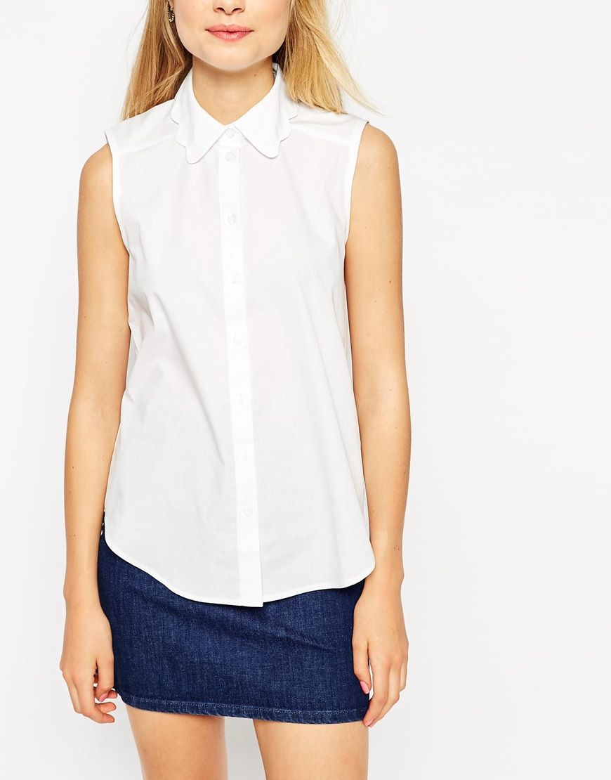 d57fc4163479d Image 3 of ASOS Sleeveless White Shirt With Scallop Collar