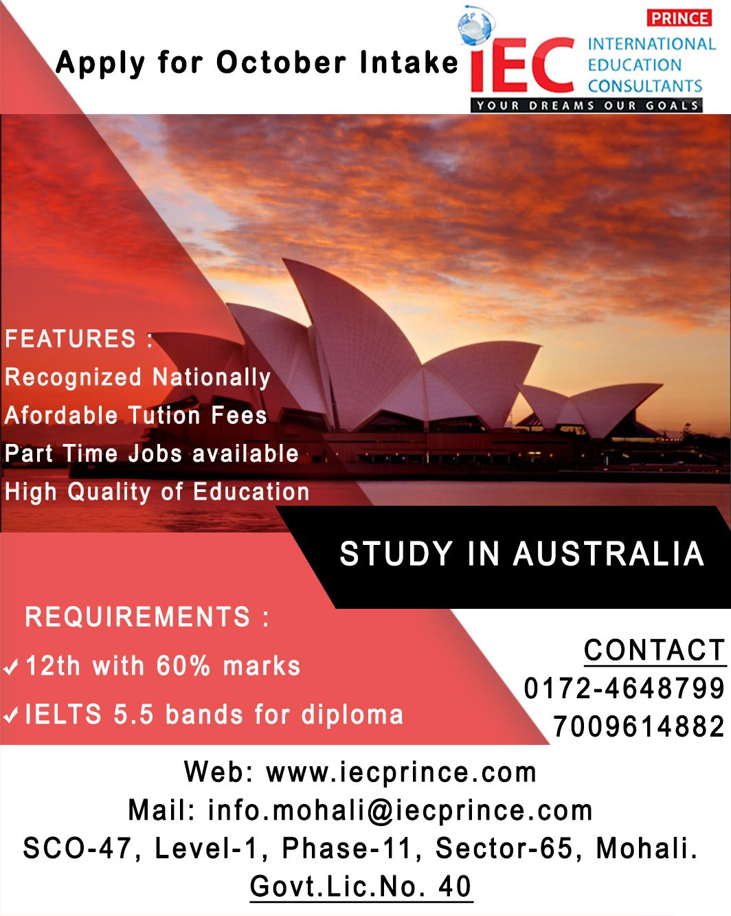 STUDY IN AUSTRALIA APPLY FOR OCTOBER INTAKE Requirements