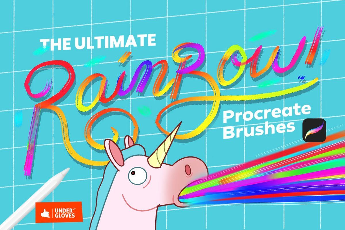 Rainbow brushes set for procreate 5 in 2020 Bold fonts