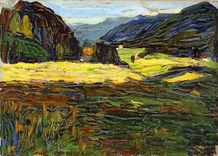 Painter Wassily Kandinsky. Painting. Kochel - Landscape with Manor. 1902 year