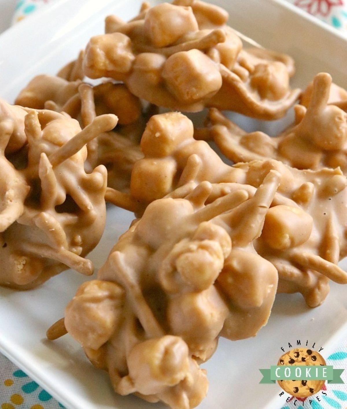 Marshmallow Peanut Butter No Bake Cookies #peanutrecipes
