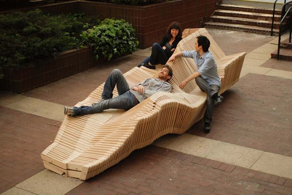 Polymorphic Kinetic Installation Double Sided Bench 3d