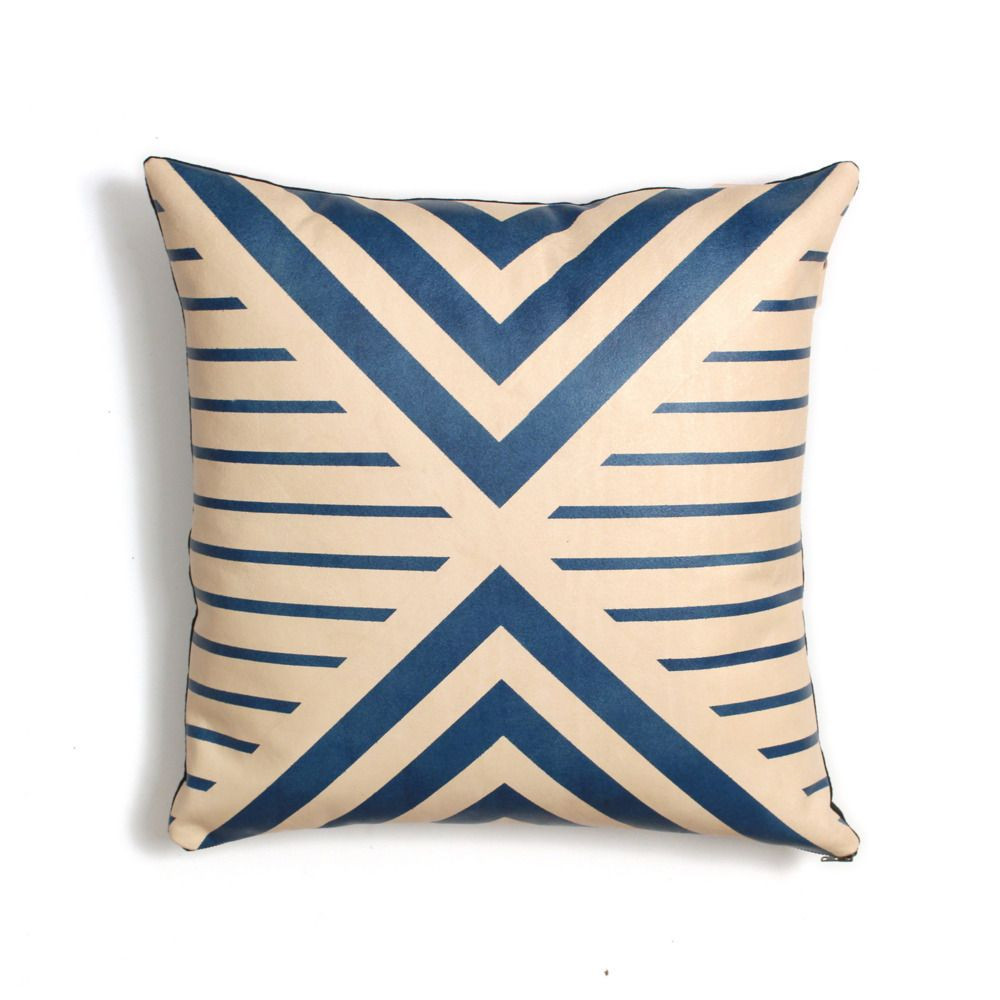 Blue geometric leather pillow leather pillow pillows and mid