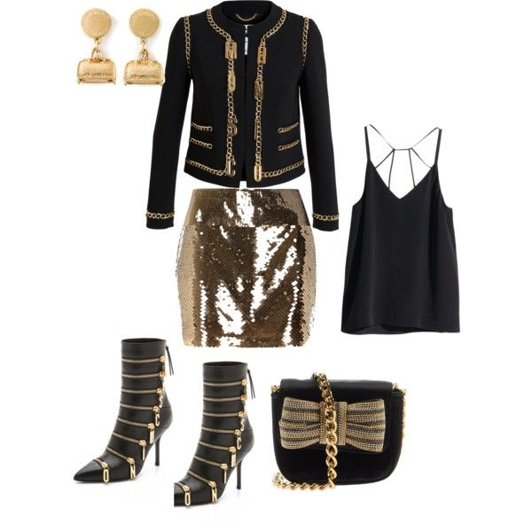 Black and Gold by Deranged Diva. A fashion look from February 2015 featuring H&M tops, Moschino jackets and River Island mini skirts. Browse and shop related looks.