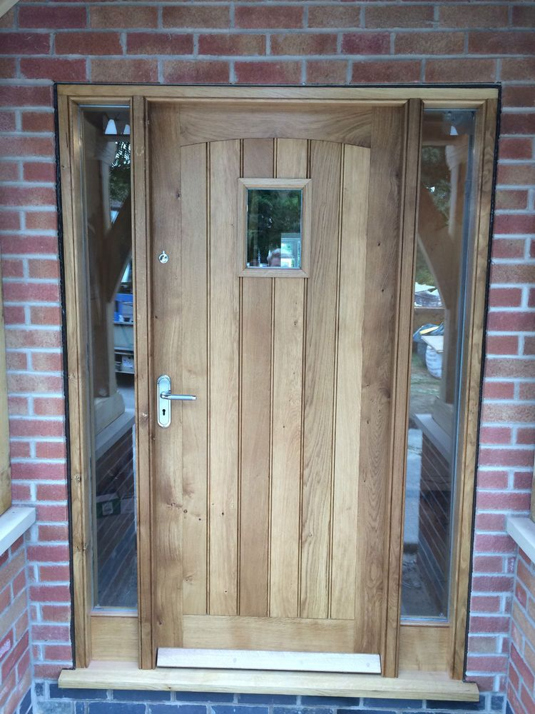 Solid oak front door with side lights oak door bespoke for Oak front doors