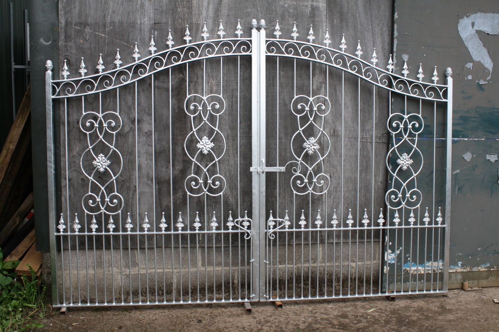 1 Of 4 Galvanized Double Wrought Iron Driveway Gates 10 Ft