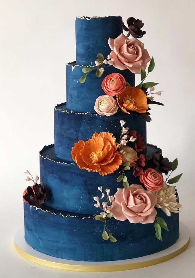 The 50 Most Beautiful Wedding Cakes – Dark Blue wedding cake -   15 cake Wedding blue ideas