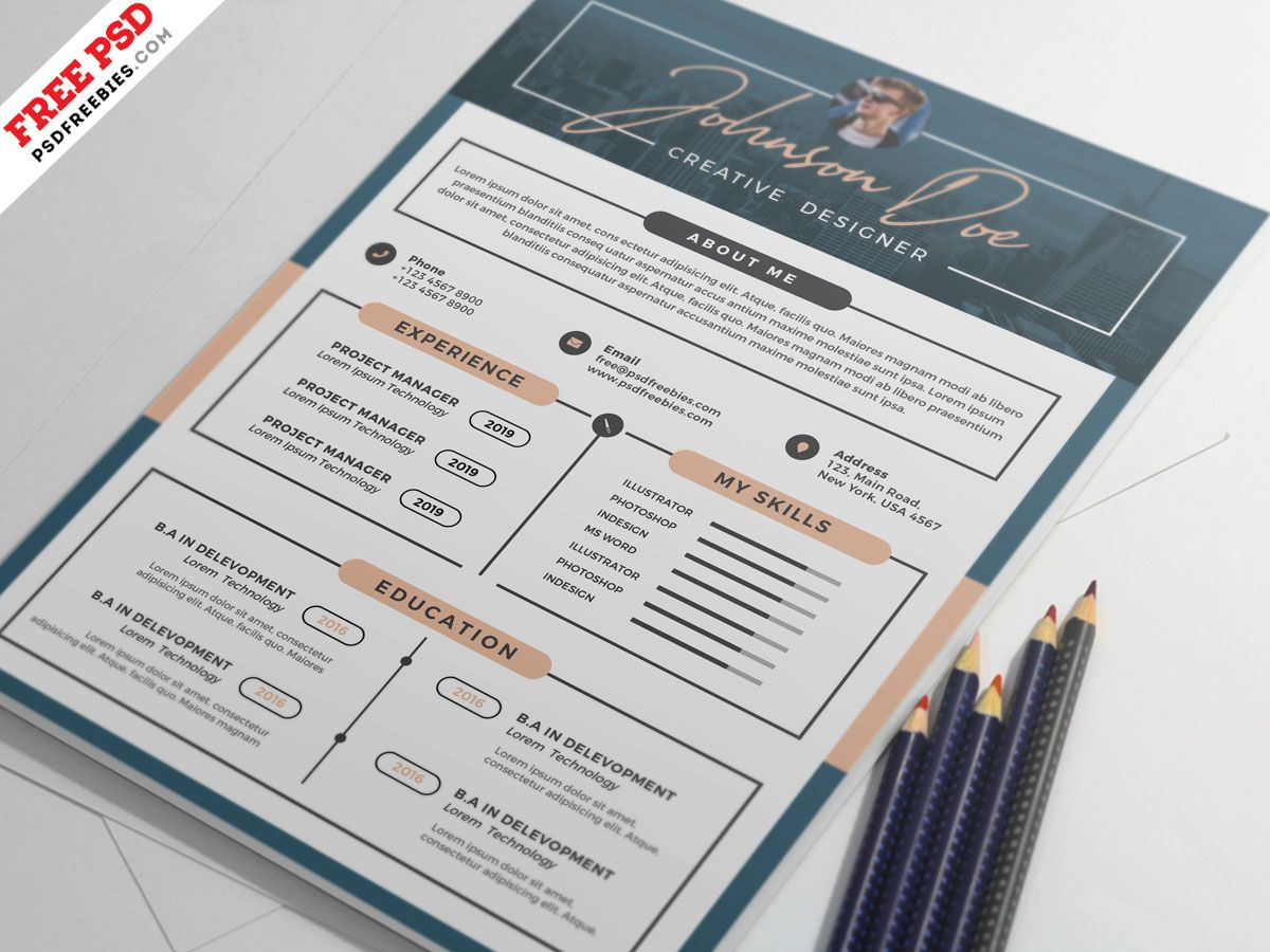 Professional Resume Template PSD in 2020