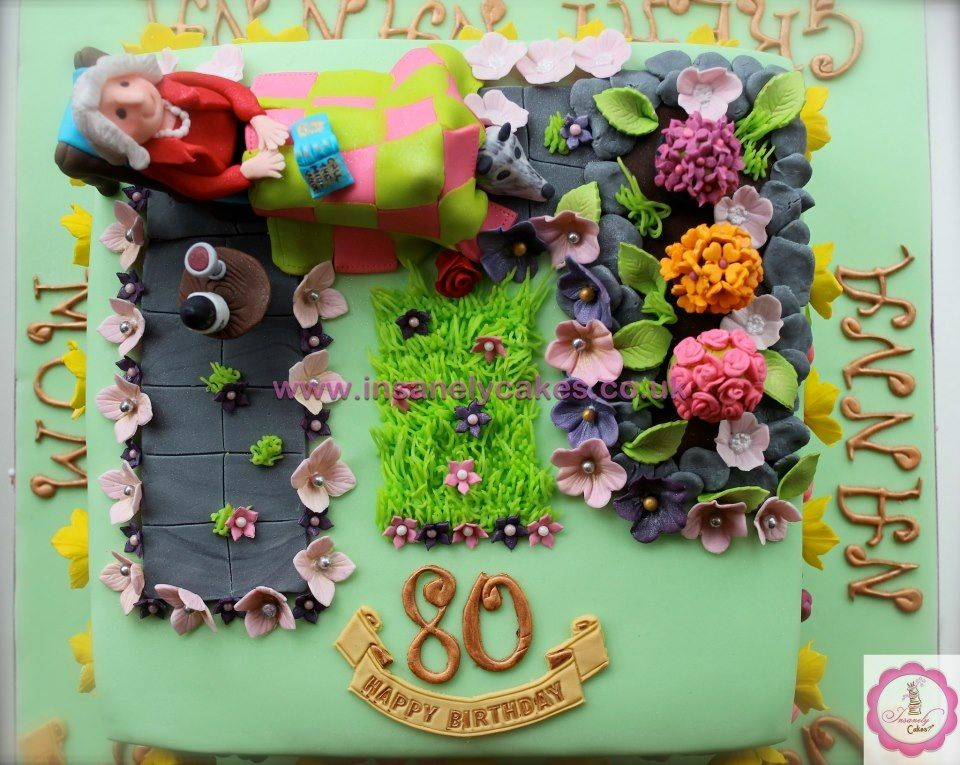 Gardening theme 80th birthday rich traditional fruit cake with