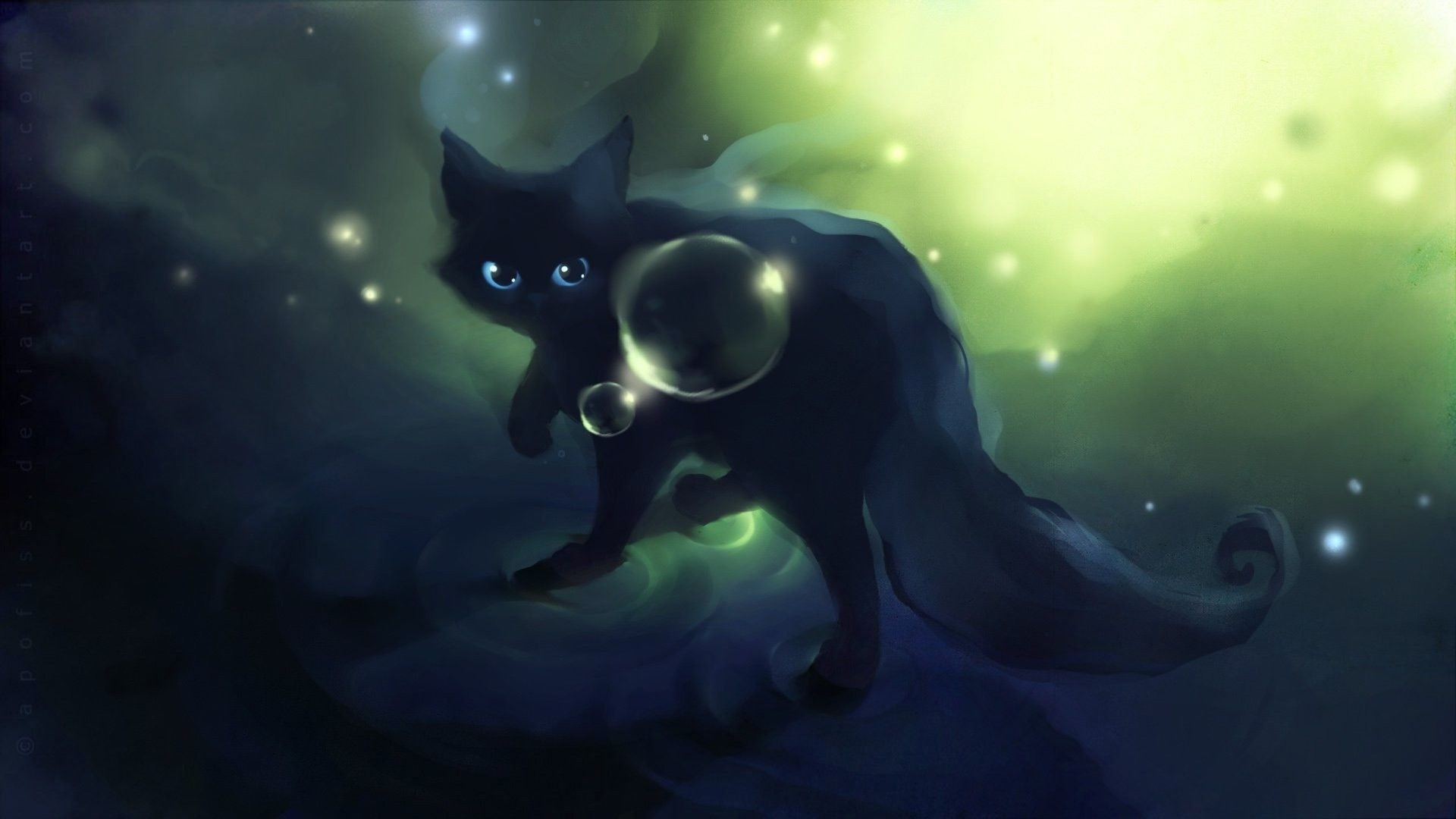 1920x1080 Apofiss Small Black Cat Wallpaper Watercolor